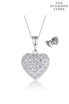 The Diamond Store Diamond 0.47ct Heart Pendant Necklace 9K White Gold