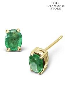 The Diamond Store Emerald 0.30CT 9K Yellow Gold Earrings