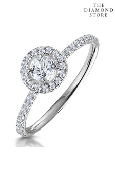The Diamond Store Ella Halo Lab Diamond Engagement Ring 0.55ct in 9K White Gold
