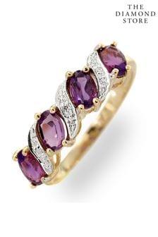The Diamond Store Amethyst 0.74ct And Diamond 9K Gold Ring