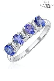 The Diamond Store Tanzanite 0.76CT And Diamond 9K White Gold Ring