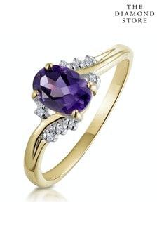The Diamond Store Amethyst 0.68ct And Diamond 9K Gold Ring