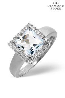 The Diamond Store Aquamarine 1.42CT And Diamond 9K White Gold Ring