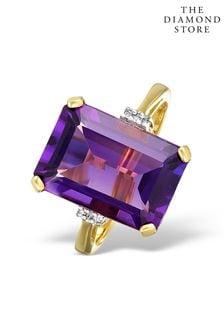 The Diamond Store Amethyst 6.40ct And Diamond 9K Gold Ring