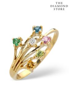 The Diamond Store Multi Gem Stone And Diamond 9K Gold Ring