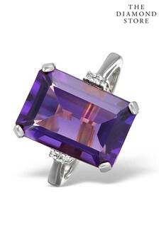 The Diamond Store Amethyst 6.40ct And Diamond 9K White Gold Ring