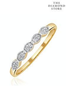 The Diamond Store Half Eternity Ring 0.02CT Diamond 9K Yellow Gold