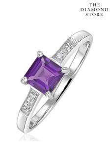 The Diamond Store Amethyst 0.63ct And Diamond 9K White Gold Ring