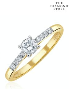The Diamond Store Lab Diamond Side Stone Engagement Ring 0.25ct H/Si in 9K Gold
