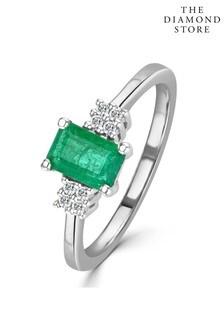 The Diamond Store Emerald 6 x 4mm And Diamond 9K White Gold Ring