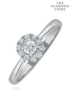 The Diamond Store Lab Diamond Halo Engagement Ring 0.25ct H/Si in 9K White Gold