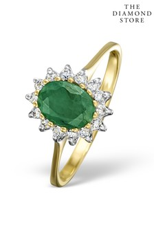 The Diamond Store Emerald 0.83ct And Diamond 9K Gold Ring