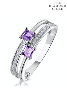 The Diamond Store Twin Amethyst and Diamond Stellato Ring in 9K White Gold