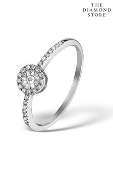 The Diamond Store Halo Ring with 0.11ct of Diamonds set in 9K White Gold