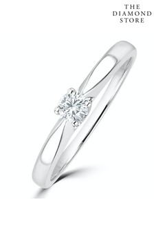 The Diamond Store Tapered Design Lab Diamond Engagement Ring 0.15ct H/Si 9K White Gold