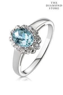 The Diamond Store Aquamarine 0.70CT And Diamond 9K White Gold Ring