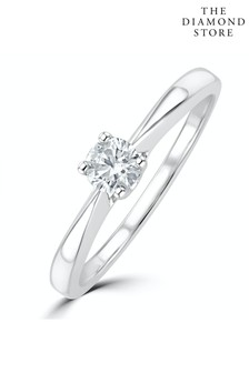 The Diamond Store Tapered Design Lab Diamond Engagement Ring 0.25ct H/Si in 925 Silver
