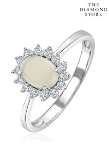 The Diamond Store Opal 7 x 5mm And Diamond 9K White Gold Ring