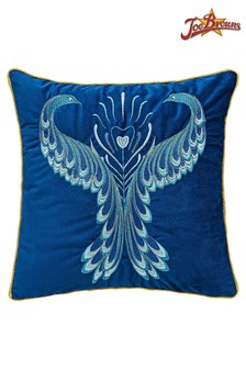 Joe Browns Magnificent Peacock Embroidered Cushion