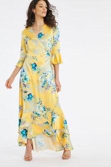 Joanna Hope Print Tiered Wrap Dress