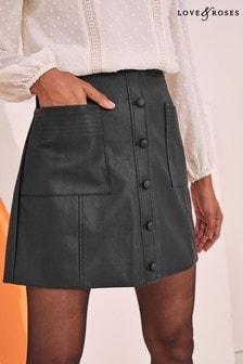 Love & Roses PU Button Skirt