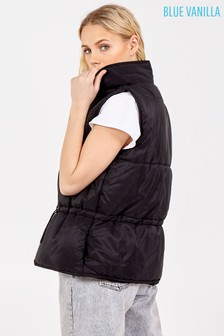 Blue Vanilla Quilted Pocket Front Short Gilet