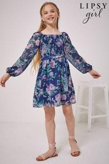 Lipsy Shirred Long Sleeve Chiffon Dress