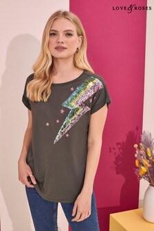 Love & Roses Roll Sleeve T-Shirt