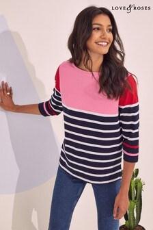 Love & Roses 3/4 Sleeve Stripe Top