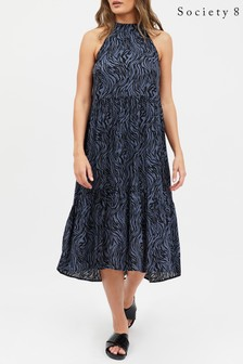 Society 8 Halter Neck Tiered Midi Dress