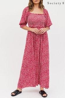 Society 8 Square Neckline Shirred Floral Dress