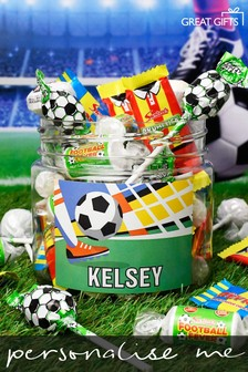 Personalised Football Fan Sweet Jar - Small by Great Gifts