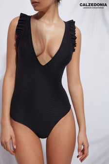 Calzedonia Black Plunge Ruffled  Swimsuit