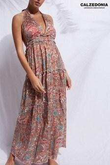 Calzedonia Black Cotton Long V Neck Beach Dress with Drawstring
