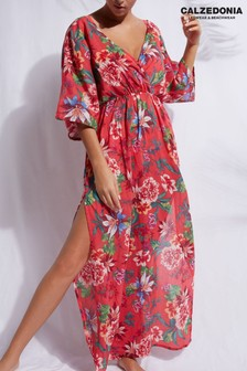 Calzedonia Red Floral Plunge V Neck Long Beach Dress