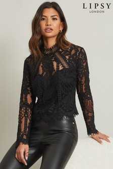 Lipsy Premium Lace Long Sleeve Blouse