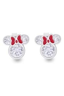 Peers Hardy Disney Minnie Mouse Sterling Silver Enamel Red Bow CZ Stud Earrings