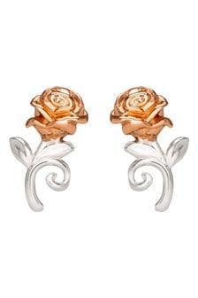 Peers Hardy Disney Beauty  the Beast Two Tone Sterling silver Rose Stud Earrings E90543TL.PH