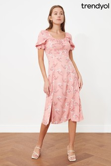 Trendyol Floral Puff Sleeve Milk Maid Midi Dress