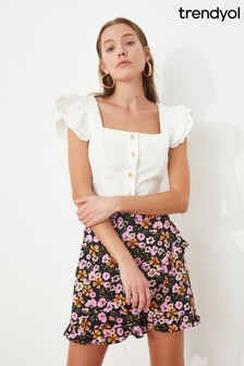 Trendyol Frill Sleeve Button Down Top