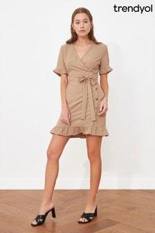 Trendyol Wrap Button Down Frill Sleeve And Hem Mini Dress