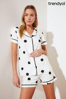 Trendyol Polka Short Pyjamas With Trim Detail