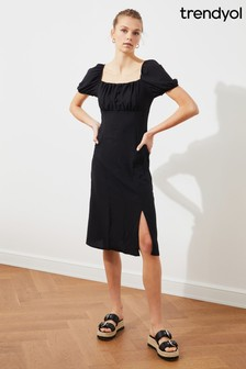 Trendyol Milk Maid Top Midi Dress With Split