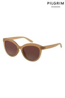 PILGRIM Light Brown Oversized Tulia Sunglasses