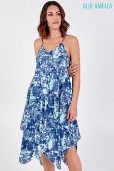 Blue Vanilla Tie Dye Hanky Hem Dress