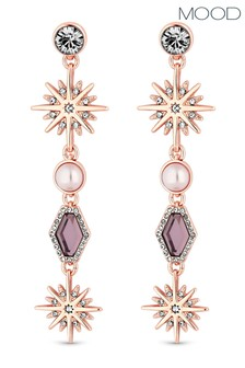 Mood Rose Gold Plated  Crystal Celestial Long Drop Earring
