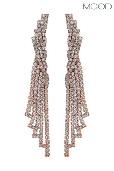 Mood Rose Gold Plated Crystal Statement Chandelier Drop Earring