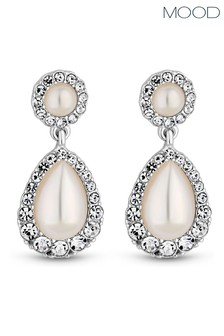 Mood Silver Plated Pearl Centre Pear Drop Earring