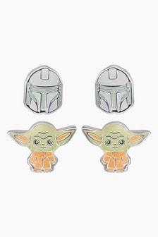 Peers Hardy Disneys Star Wars The Mandalorian The Child  Boba Fett Enamel Silver Plated Twin Pack Earring Set