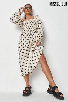 Missguided Shirred Bust Midi Smock Dress